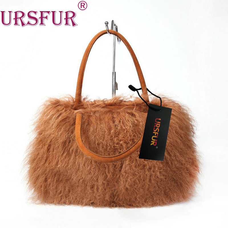 URSFUR Winter Fur Women Bag Purses Mongolian Sheep Fur Handbag Lamb Fur Shoulder Bags Messenger Ladies Fashion Casual Handbags