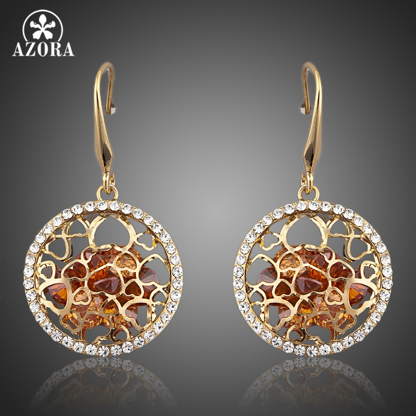AZORA Gold Color Irregular Gold Cubic Zirconia Drop Earrings TE0047