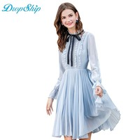 Dropship Streetwear New 2018 Hot Sale Stand Collar Front Flare Sleeve Ruffle Pleated Chiffon Elegant Workwear Party Midi Dress