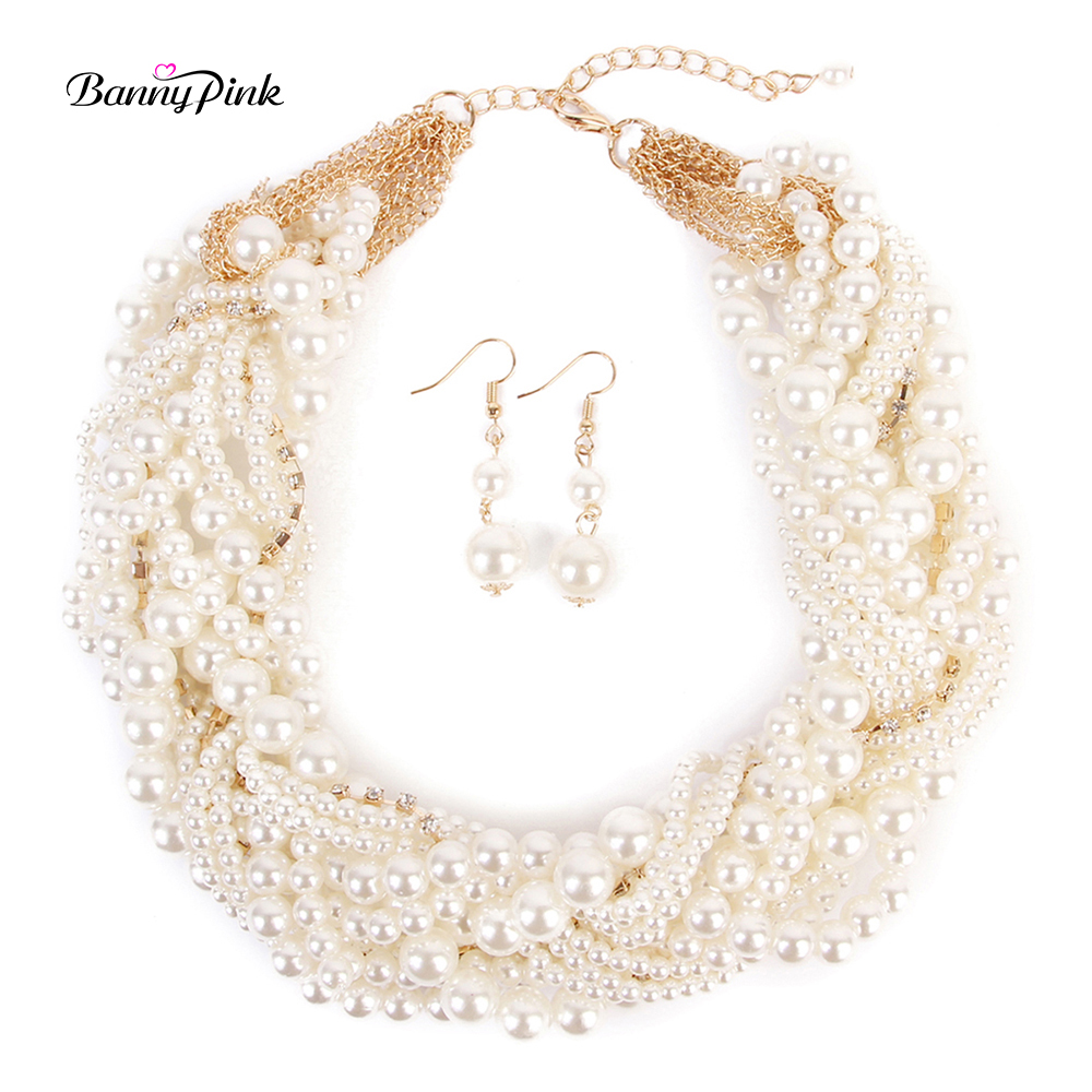 Banny Pink Luxury Bib Imitation Pearls Multi Choker Necklaces For Women Elegant Handmade Weave Strands Choker Collar Colliers