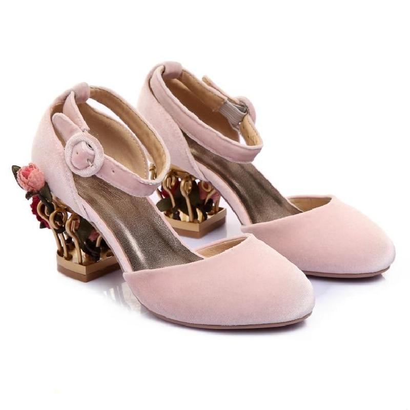 Womens Grace Birdcage Flower High Heel Pleuche Vintage Ankle Strap Wedding Shoes C60