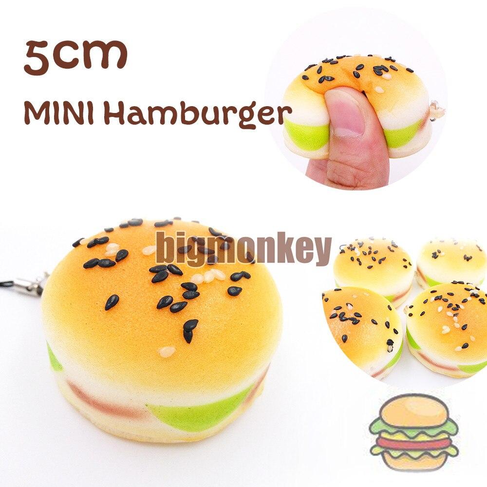 imágenes para Mono grande Nuevo 30 UNIDS Mini 5 CM Blando Sésamo Hamburguesa Teléfono Correas blando Pan Perfumado Llavero