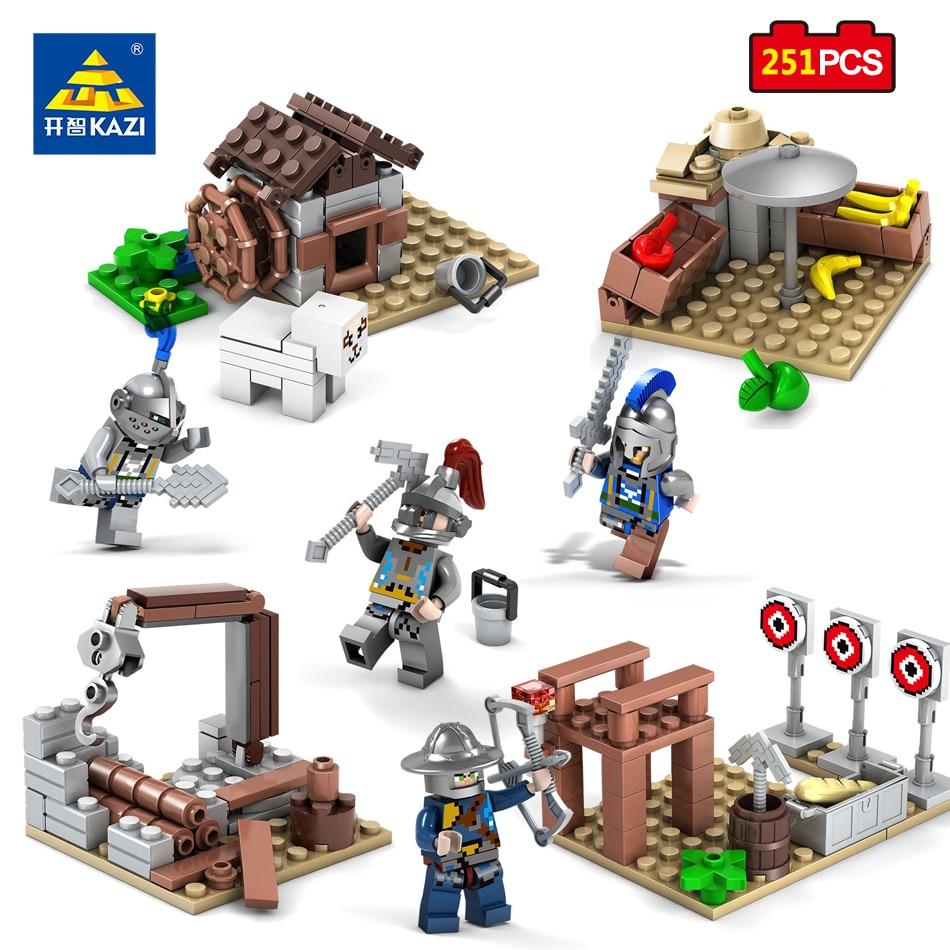 KAZI Toys 4pcs set Roman Knight Armor Building Blocks Compatible Legoe City Action Figures Enlighten Brick Toy For Children Gift 6pcs set kawaii hello kitty action figures kids toys kt cat toys gift 4 3cm