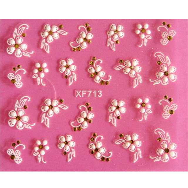 Lovely 3D flower design Water Transfer Nails Art Sticker decals girl women manicure tools Nail Wraps Decals