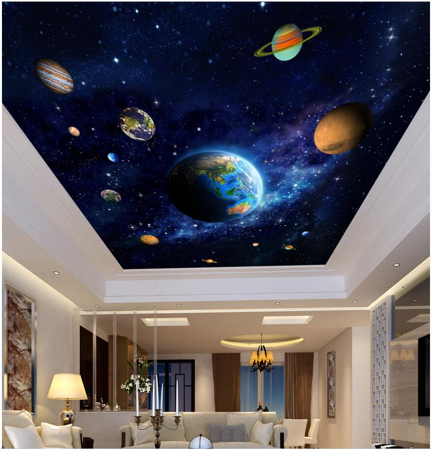 3d ceiling murals wall paper picture blue planet space for Ceiling mural wallpaper