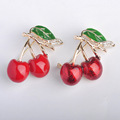 Russia Enamel Esmalte Red Double Cherry Brooches For Girl Kids Cute Fruit Broches Hijab Scarf Pins Dress Hat Clip Bijoux Jewelry