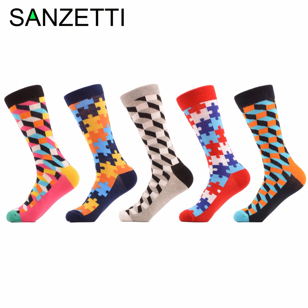 SANZETTI 5 pair/lot Mens filled Optic Puzzle Colorful Combed Cotton Socks Funny Casual Crew Happy Socks Birthday Gift