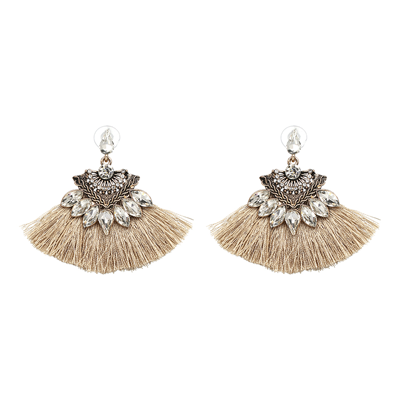 Bohemia Dangle Drop Earrings Women Accessories Fan Shaped Cotton Handmade Tassels Fringed Earrings Ethnic Jewelry  3