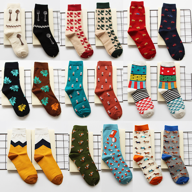 Fast Deliver Peonfly Combed Cotton Men Socks Colorful Jacquard Crew Happy Socks Monstera Leaf/dinosaur Eggs Funny Socks Underwear & Sleepwears