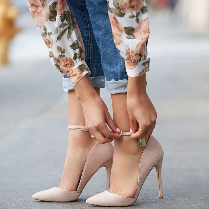 ФОТО spring autumn women shoes pumps suede leather pointed toe high heels The key pendant nude blue Ankle Strap stiletto heels