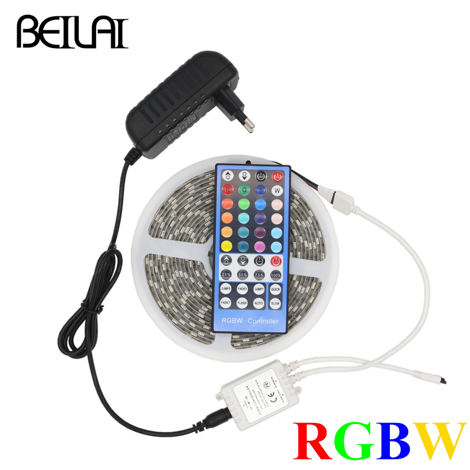 BEILAI DC 12V 5050 RGBW RGBWW LED Strip Wtaerproof 5M 300LED Fita LED Light Strips Flexible Neon Tape With 3A Power And Remote hangqiao baby 3 layers white burp cloths cloth diapers cotton diapers diapers diaper