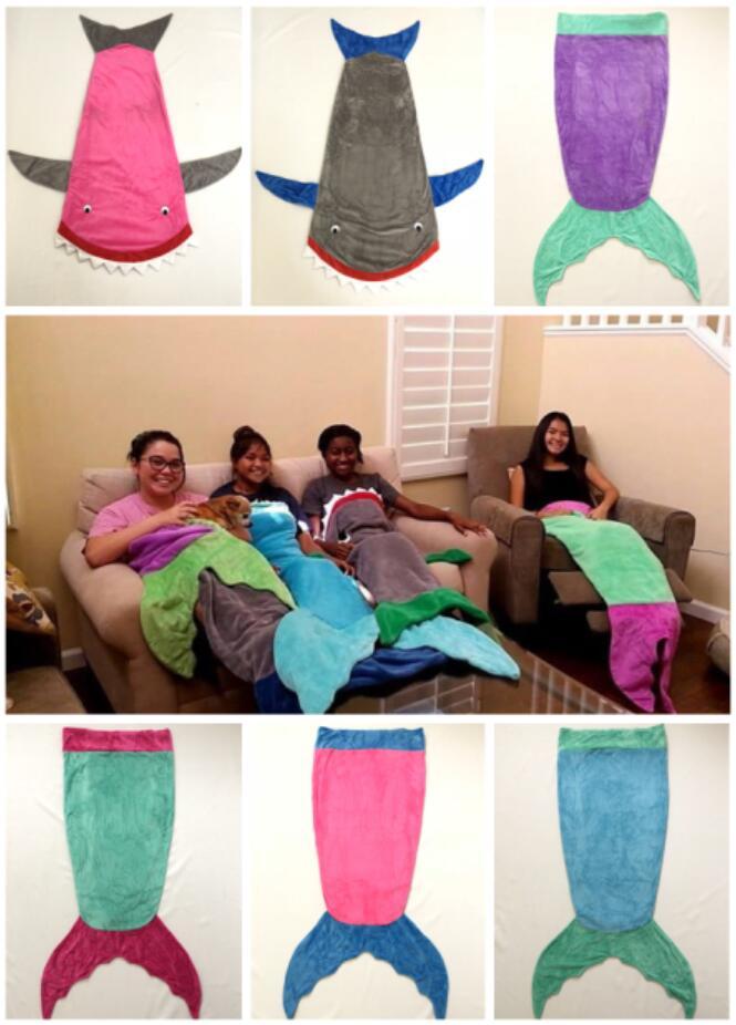 6 Designs-Flannel Top Quality Baby Sleeping Bag/Children's Sleepsack/Infant Sleepsacks Shark Mermaid Tail Blanket