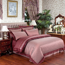 2018 Wine Red Leopard Print Bedlinens Silk Cotton Blend Duvet Cover Set Jacquard Queen King Bed Cover Sheet Pillowcases(China)