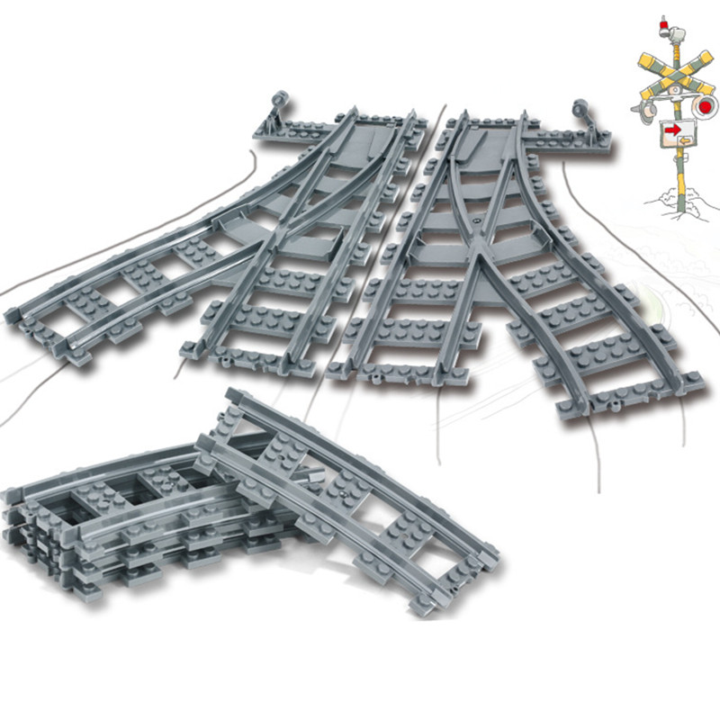 City Züge Teile Flexible Schiene Kreuzung Gerade Gebogene Schienen Kompatibel LegoINGs Bausteine Sets Kinder Ziegel Spielzeug