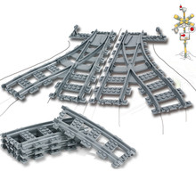 Legoings City Trains Parts Flexible Track Rail Crossing Straight Curved Rails Building Blocks Kids Bricks Toys for Children Gift