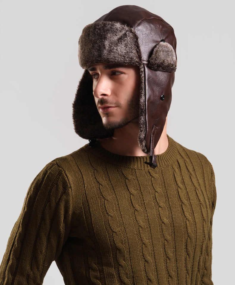 Invierno hombres earflap Sombreros bomber CAPS pu cuero ruso niño orejera  nieve sombrero gorras casquette skullies 1935c4ff428