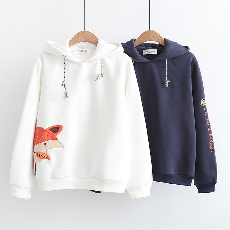 2018 Autumn Fashion Long Sleeve Crop Tops Women Fox Embroidery Letter Hooded Sweatshirts Hoodies Patchwork Printed Pullovers