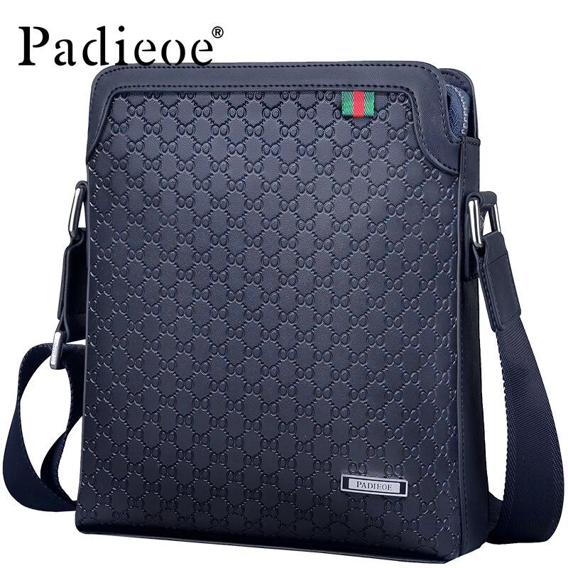 Padieoe Top Split Leather Male Bag Famous Brand Men's Travel