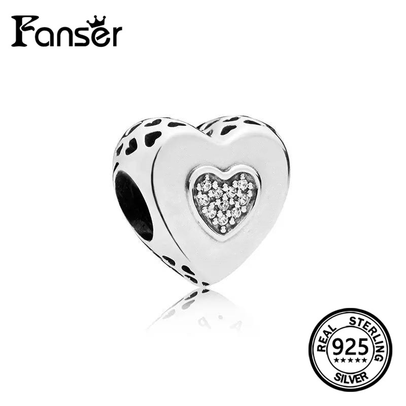 FANSER 2018 Summer NEW Love Shape with Crystal charm silver&rose-gold color S925 Pure Silver Has Logo pandor Jewelry for women