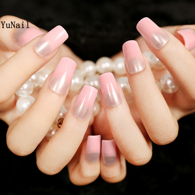 Elegant Women Nail Art Tips 24pcsset Long Design Pink Gradient Full