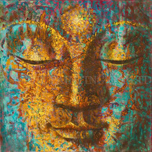 High Skills Artist Handmade Abstract Buddha Oil Painting for Wall Art Hand-painted Full Face of