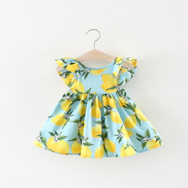 2018 summer Sweet Infant Kids Baby Girls short sleeve Mango Fruit print cute Princess Dress Vestido C100