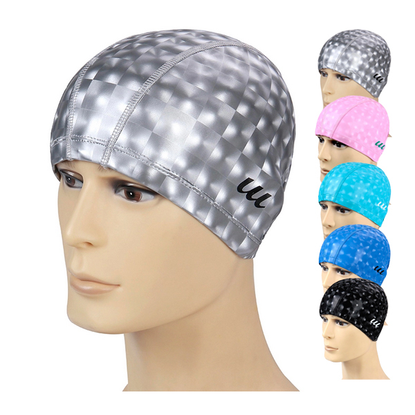 H382 Free shipping spa cap waterproof PU coating ear hair large swimming cap  hat for men and women A variety of optional-in Swimming Caps from Sports ... 9104fc84bc