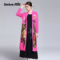 Vintage Embroidery Winter Red Wool Long Coats Woman Chinese Style Elegant Lady Loose Open Stitch Knit