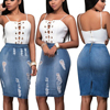 Sexy Pencil Denim Skirt Women Summer Elegant Split Saia Torn Jeans Slim Bodycon Skirt Fashion Hole