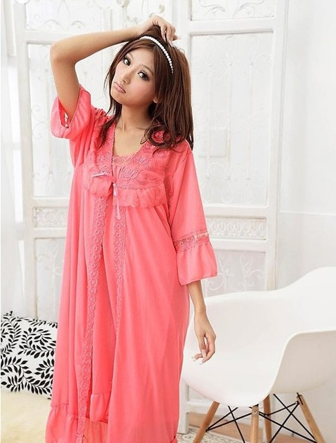 1 piece 2 in 1 female lady pajamas sets sexy ice silk sling nightdress nightgown two-piece tracksuit lace robe sets Nightwear