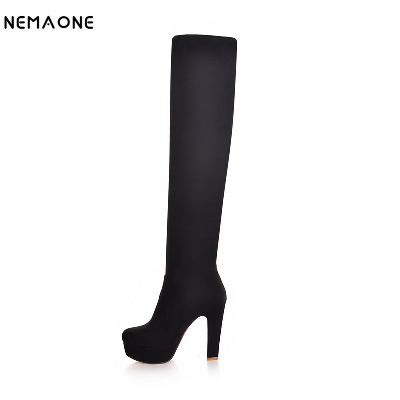 NEMAONE New Women Suede Sexy Fashion Over the Knee Boots Sexy Thin High Heel Boots Platform Woman Shoes Black Blue size 34-43 jialuowei women sexy fashion shoes lace up knee high thin high heel platform thigh high boots pointed stiletto zip leather boots