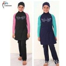 Novo 2017 do Kid menina maiô muçulmano swimwear das crianças swimwear Islâmico