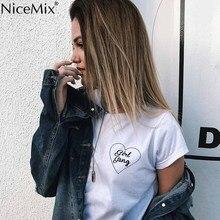 NiceMix 2019 Summer Tops for Women T Shirt Printed Letter GIRL GANG T-shirt Femme Cotton Harajuku Tee Feminino