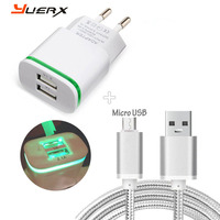 Dual USB EU Plug Travel Charger 3FT Micro USB Cable For Elephone S7 Mini S7 P8000