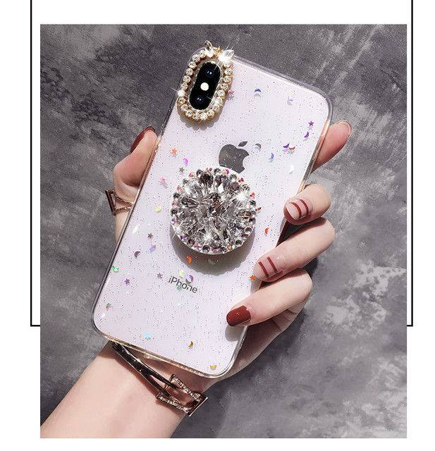 Luxury Bling Diamond Airbag Bracket Soft Cover For iPhone11 Pro max XS MAX XR 6 6S 7 8 PLUS 1