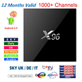 KODI X96 S905X android 6.0 tv box Amlogic 4 K + 1 Año HD árabe Francés REINO UNIDO Italia portugal europa server 1000 + Canales de iptv Canal +