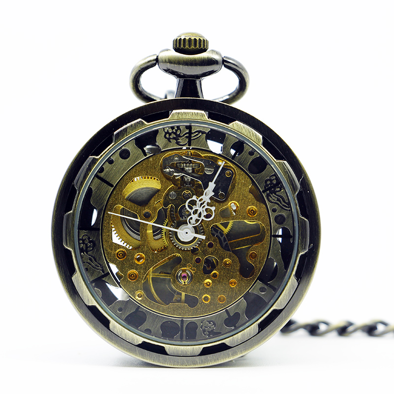 10pcs/lot Retro Bronze Open Face Men Hand-winding Mechanical Transparent Skeleton Fashion Steampunk Pocket Watch Chain Gift цена и фото