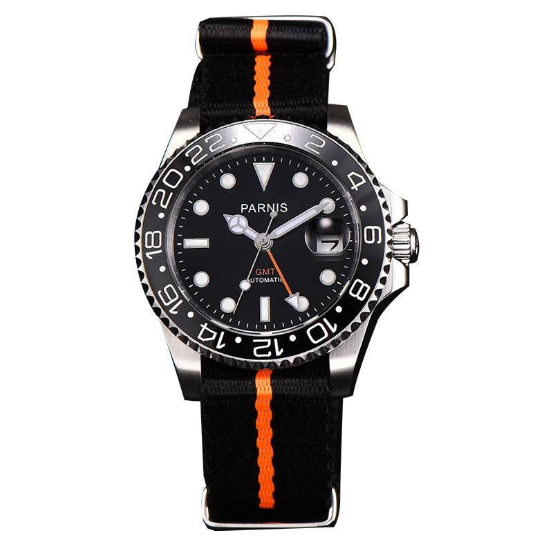 Fashion Parnis 40mm Automatic Self Winding Mechanical Mens Watches GMT Diver Men Watch Nylon Strap Black Bezel Clock kol saatiFashion Parnis 40mm Automatic Self Winding Mechanical Mens Watches GMT Diver Men Watch Nylon Strap Black Bezel Clock kol saati