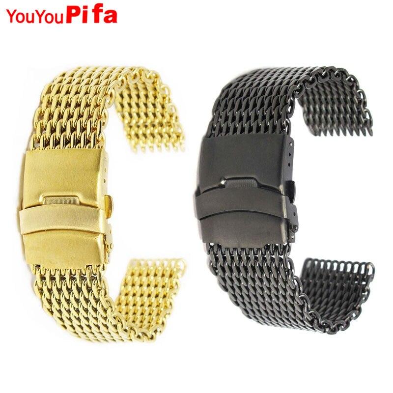 18mm Golden Black Mesh Stainless Steel Bracelet Wrist Watch Band Clasp For Men Women Hot Sale Watch Strap Replacement Watchband