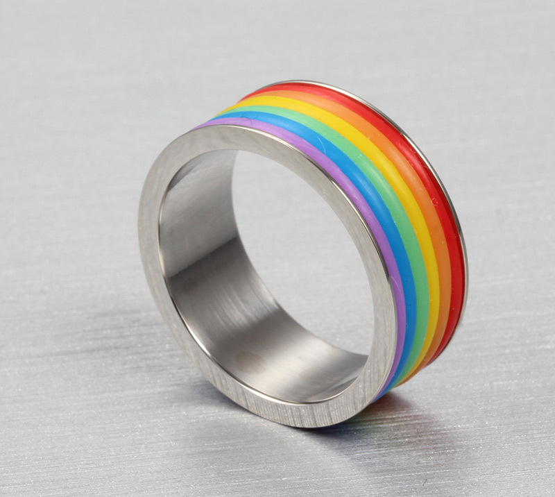 alisouy fashion rainbow wedding rings for men and women wholesale gay pride ring with stone free shipping in rings from jewelry accessories on - Rainbow Wedding Rings