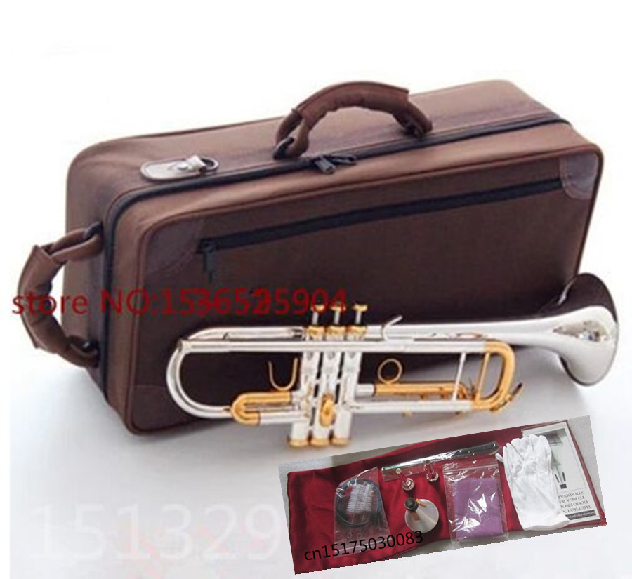 Trumpet Brand new Silver-plated body gold key LT180S-72 B flat professional trumpet bell Top musical instruments Brass horn trumpet new bach silver plated body gold key lt190s 85 b flat professional trumpet bell top musical instruments brass
