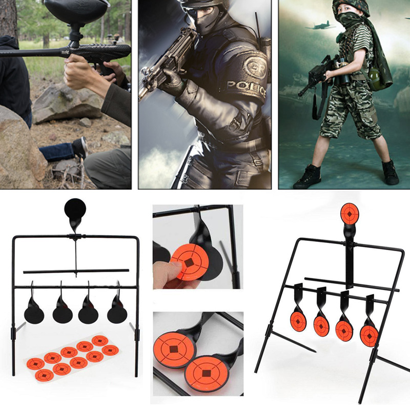 5-Plate Metal Reset Shooting Target Indoor Outdoor Air Gun Rifle Supplies Black Hunting Target Set