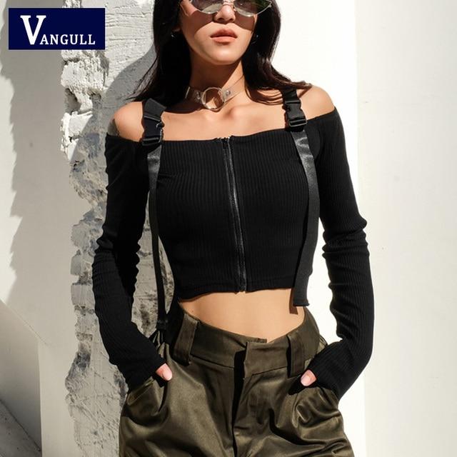Vangull Adjustable Buckle Slash Neck Tops Women Front Zipper Crop Top 2019 New Fashion Summer Sexy Long Sleeve Off Shoulder Coat