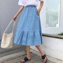 c5ea87cf9d9 Летом над Размеры d Высокая Талия Джинсовая юбка для Для женщин Мода  Большой Размеры эластичным поясом длинные джинсы юбка плюс .