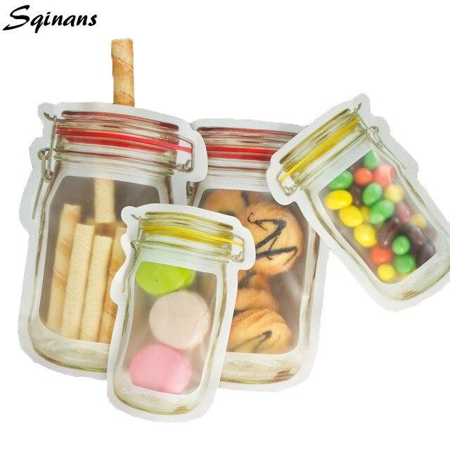 Sqinans Zip Lock Snack Dry Food Storage Bag Organizer Fridge Fresh Keeping Food Wrap Kitchen Food Container Ziplock Bag
