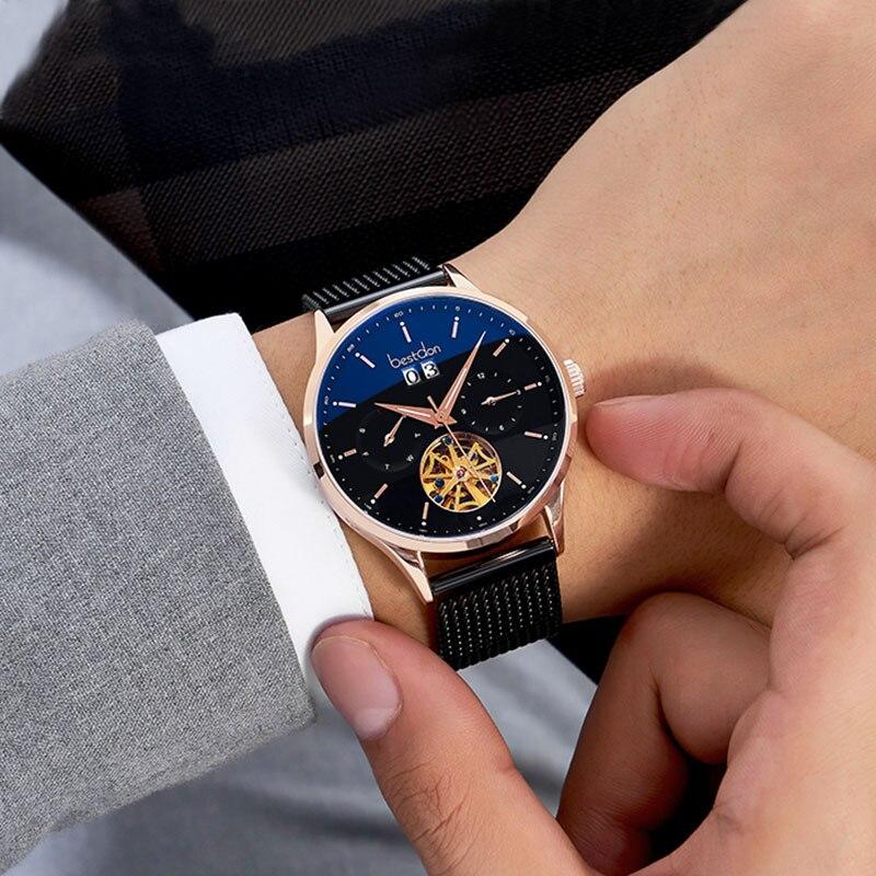 Bestdon Curved Mechanical Watch Men Switzerland Top Luxury Brand Automatic Watches Waterproof  Blu-ray Relogio Masculino 7143-7