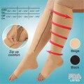 Meias de compressão elástica zipper chaves apoio massagem alívio de inchaço nas pernas and dor prevenção curar varizes