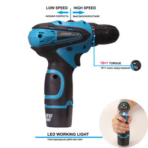 Image 3 - 12V Electric Tools 1.5 Ah Lithium Ion Battery Screwdriver 18+1 Torque Cordless Drill Electric Drill For Drilling in Ceramic Wood