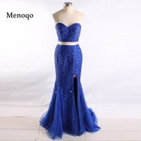 2018 Real Model Royal blue Beaded Crystal Side Split Tulle vestido de festa Mermaid Cut Prom Dresses Two Piece