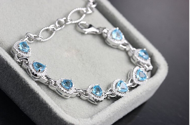 925 sterling silver natural stone fashion bracelet
